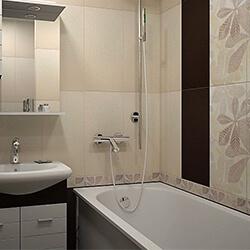 Ремонт ванной 150x135 плиткой